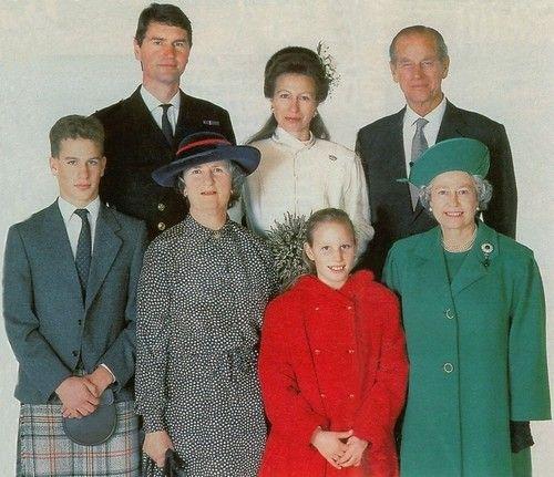 Princess Anne and Timothy Laurence's wedding-top-Timothy Laurence, Princess Anne, Duke of Edinburgh; bottom-Peter Phillips, Barbara Laurence (Tim's mother), Zara Phillips, Queen Elizabeth