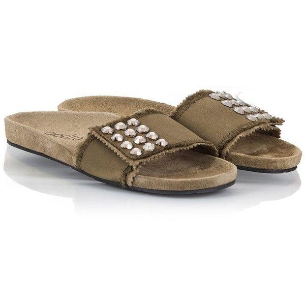 Pedro Garcia - ARABELA Olive satin crystal studded spa slides ($280) ❤ liked on Polyvore featuring shoes, dark green, satin shoes, dark green shoes, swarovski crystal shoes, decorating shoes and oliver footwear