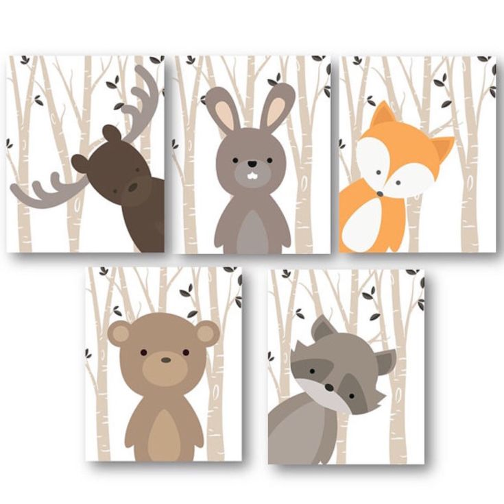 Woodland Nursery Decor – Woodland Nursery Art – Baby Boy Decor – Forest Animals Nursery – Animal Nursery – Animal Wall Art – PRINTS ONLY