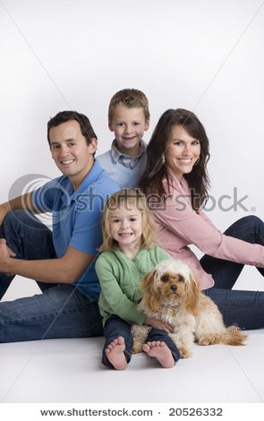 Family And Dog Poses For Portrait In Studio Stock Photo 20526332 .