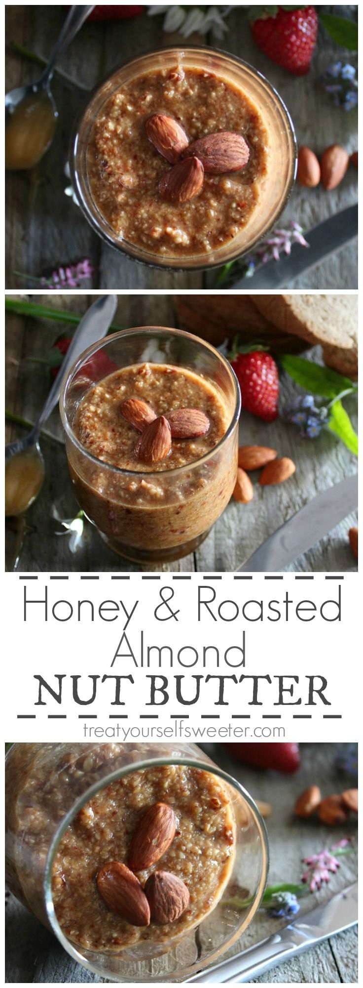 Honeyed Almond Spread; crunchy, salted roasted almond spread with a sweet hint of honey. Perfectly delicious!