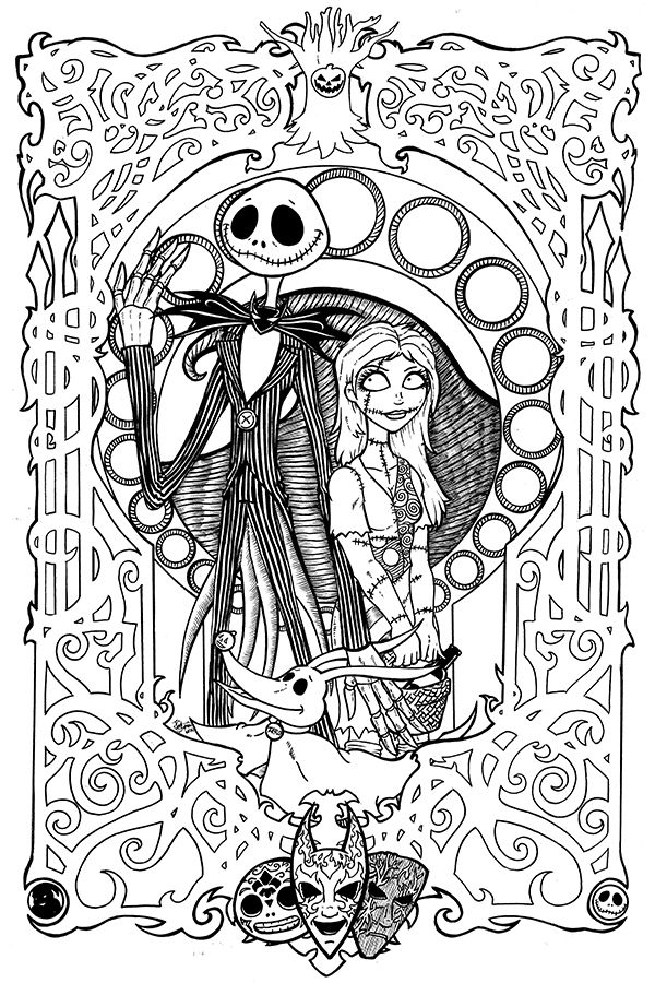 nightmare before christmas art nouveau by therealjoshlyman on deviantart i sense something in the wind pinterest coloring pages christmas