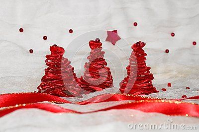 Red christmas tree on white background