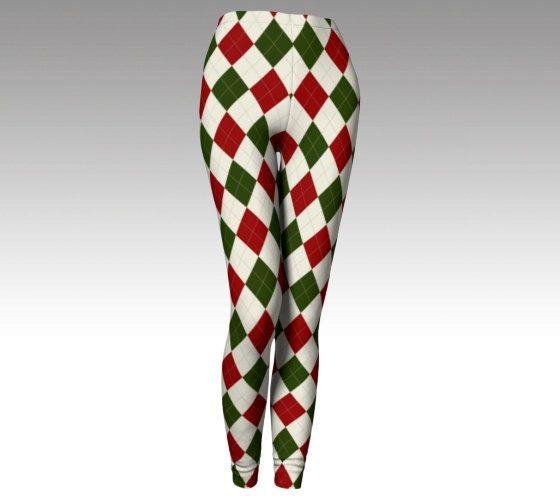 Christmas Leggings, Christmas Tights, Womens Leggings, Womens Tights, Active Wear, Printed Leggings, Yoga Leggings, Checkered Pants, Womens