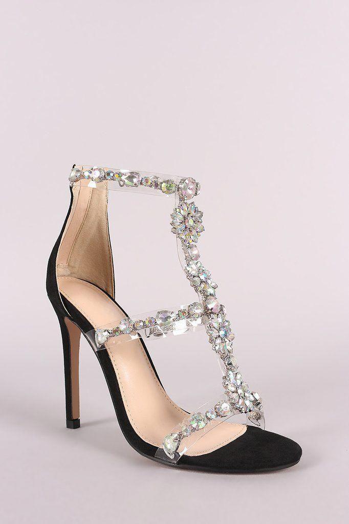 a45acd76983 Qupid Clear Jewel Embellished T-Strap Stiletto Heels  StilettoHeels ...