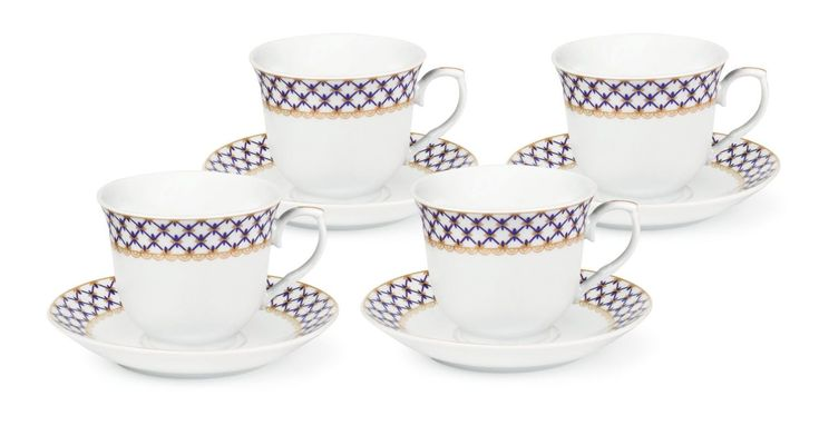 Blue and Gold Lattice Wholesale Tea Cups and Saucers