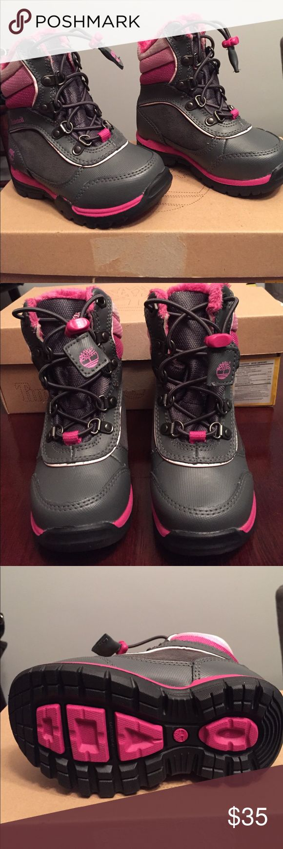 Girls timberland boots NWOT Girls timberland snow boots, plush interior, grey with multi pink stripe detail. Timberland Shoes Rain & Snow Boots