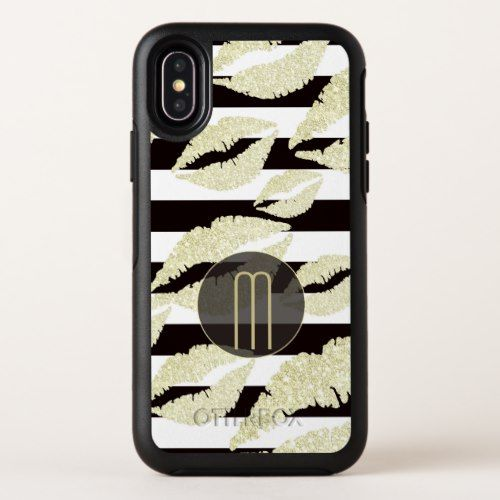 Gold Sparkle Lips Monogram OtterBox Symmetry iPhone X Case