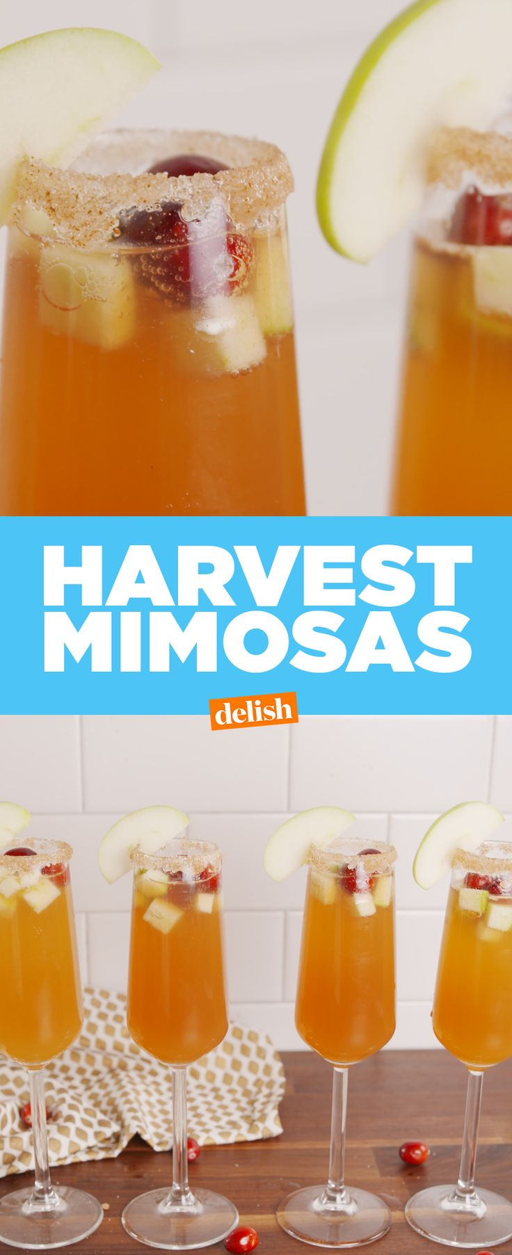 Harvest Mimosas are the essential fall brunch drink. Get the recipe at Delish.com. #brunch #mimosas #alcohol #Cocktail #recipes #EasyRecipes #fall #falldrinks
