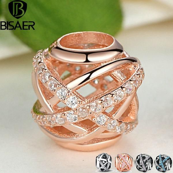 Original 14K Gold Plated Galaxy, Rose & Clear CZ Bead 925 Sterling Silver Charm Fit Pandora Bracelet Jewelry Making AS120 - cubic zirconia jewelry