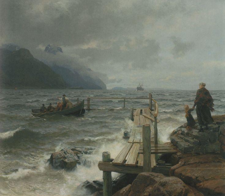 Hans Gude - Frisk bris ved den norske kyst. jpg (1060×920)
