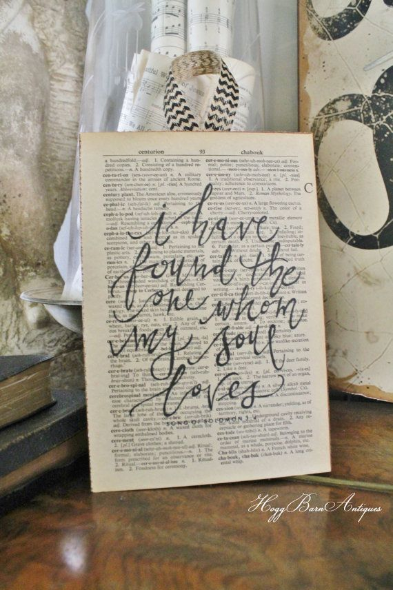 i have found the one whom my soul loves sign vintage dictionary bible verse art print farmhouse decor wedding scripture wood fixer upper - Book Pages Art