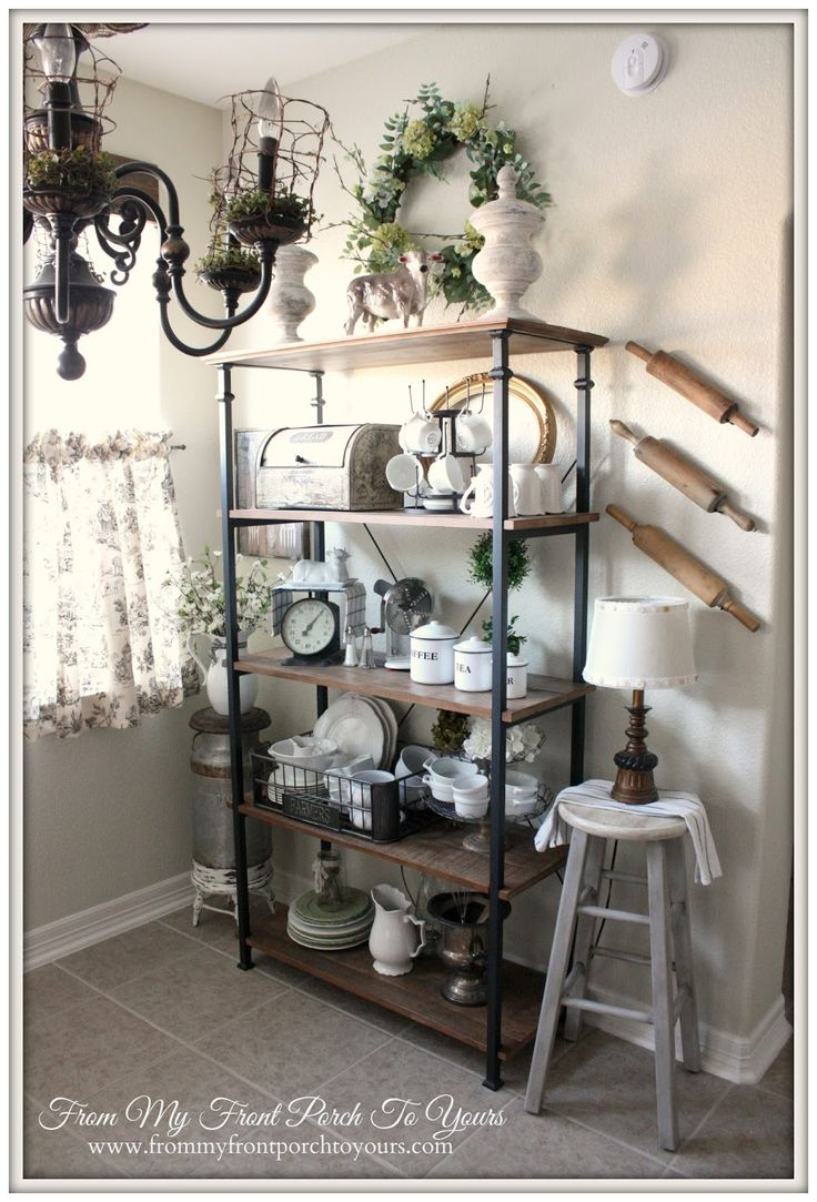 Updated French Farmhouse Breakfast Nook. Kitchen Shelf DecorKitchen BookcaseFrench  ...