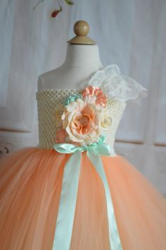 Vintage Peach and Mint Flower girl tutu by TutuSweetBoutiqueINC, $65.00