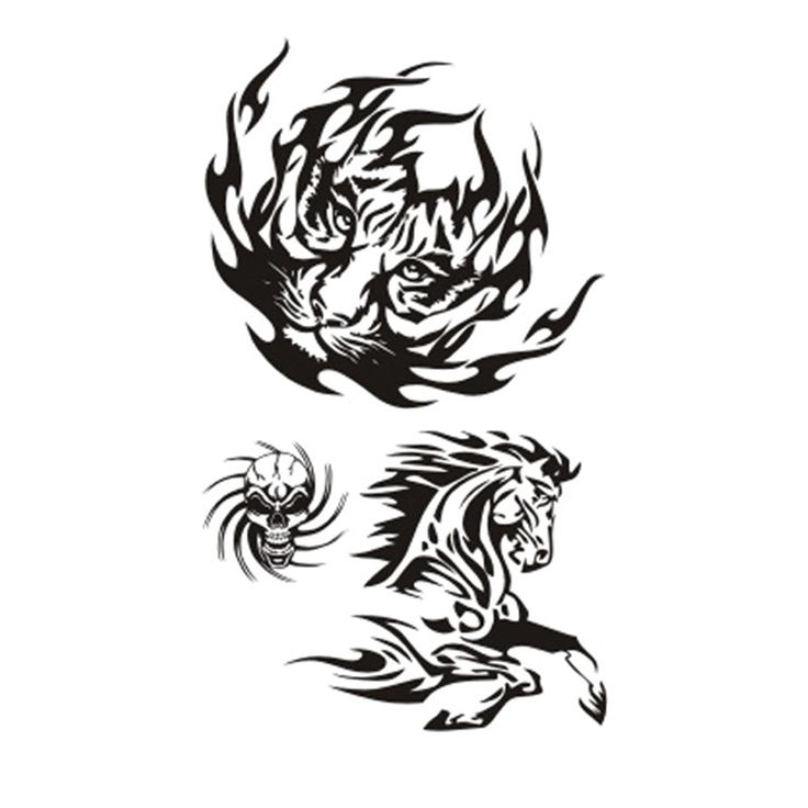 Wyuen NEW Hot Design Temporary Tattoo for Adults Waterproof Tatoo Sticker Body Art Fashion Skull Tiger Horse Fake Tattoo A-021 #Affiliate