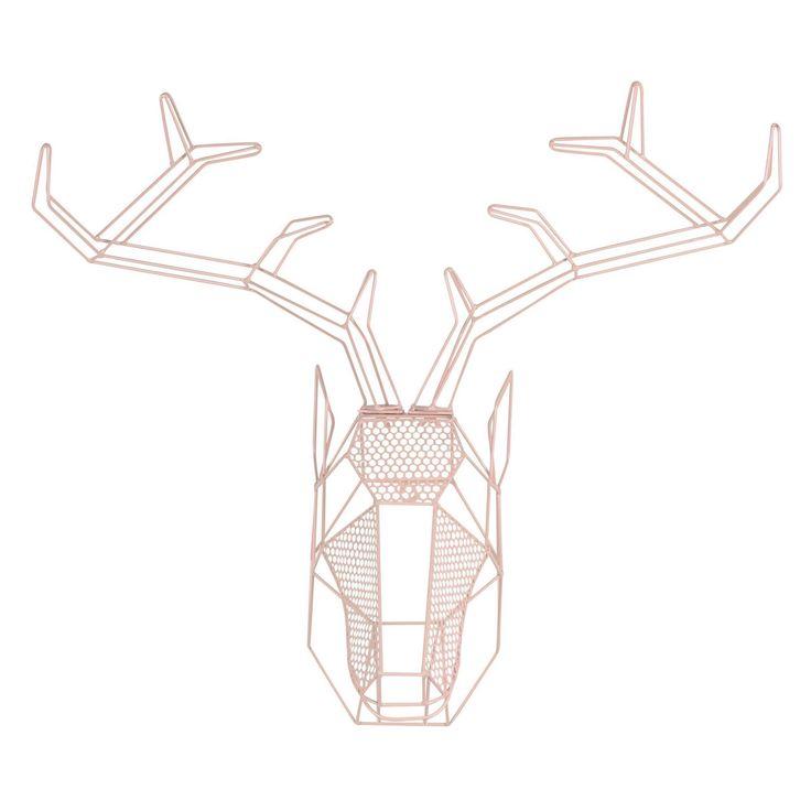 Kate and Laurel Orbie Geometric Mounted Deer Head Wall Sculpture - 209655