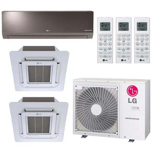 3 Zone Lg 19 2 Seer Ductless Multi Zone Mini Split Inverter 3 Room Air Conditioner Heat Pump 12k 12k In 2020 Heat Pump System Room Air Conditioner Heating And