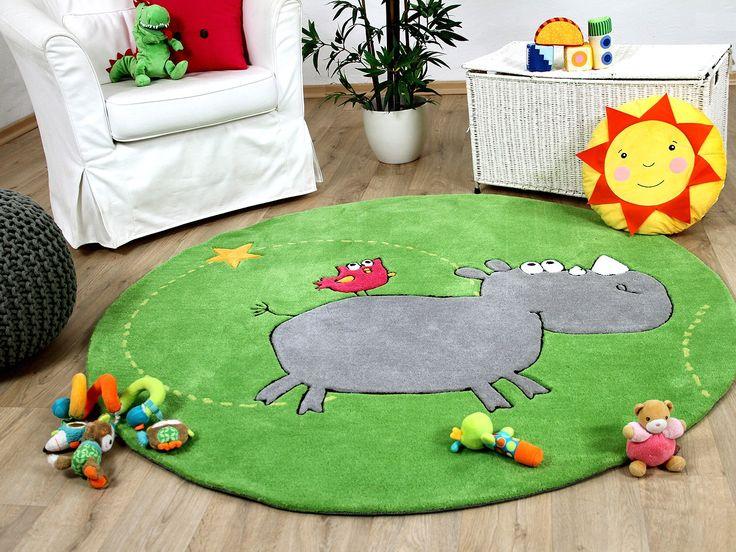 Fresh Lifestyle Kinderteppich Lustiges Nashorn Gr n Rund Teppiche Kinder und Spielteppiche Lifestyle Kinderteppiche