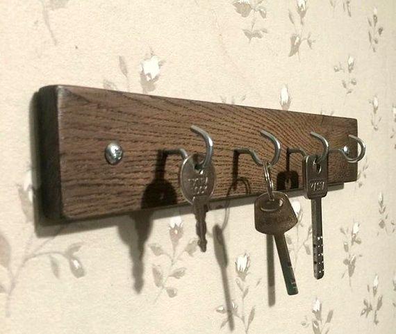 Wooden key holder  rustic oak wood  rustic key by KubuHandmade