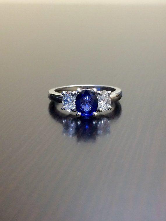 1bce0080b Ceylon Blue Sapphire Engagement Ring - Three Stone Diamond Platinum Sapphire  Wedding Ring - Sapphire