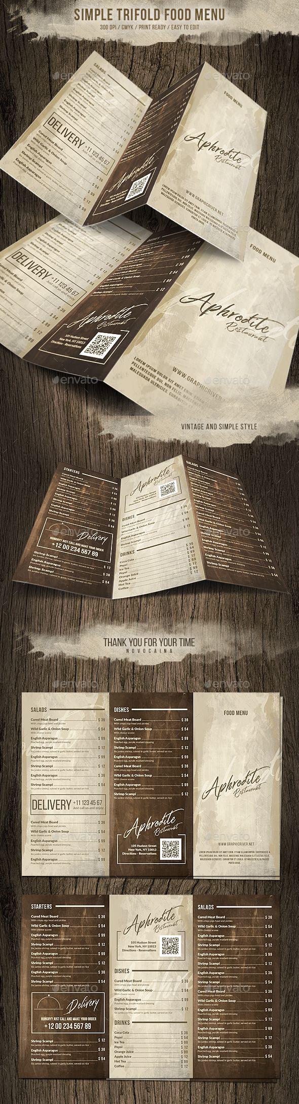Simple Style Trifold Menu Design — Photoshop PSD #blackboard #restaurant • Download ➝ https://graphicriver.net/item/simple-style-trifold-menu-design/20277015?ref=pxcr