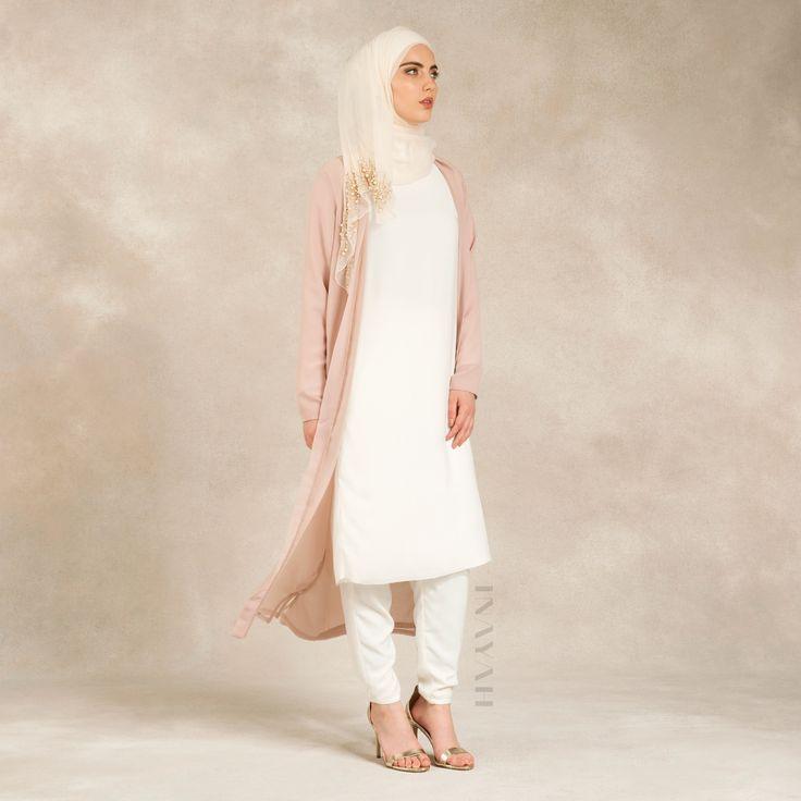 INAYAH | Blush Cream #Kimono + White Crepe #Midi + White Georgette #Hijab + White #Trousers