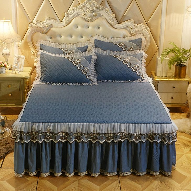 European Luxury Bedspreads And 2pcs Pillowcase Thick Cotton Bed Skirt With Lace Edge Twin Queen King Siz Luxury Bedspreads Bed Cover Design Designer Bed Sheets