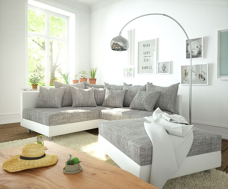 DELIFE Ecksofa Clovis Weiss Hellgrau Modulsofa Hocker Ottomane Links, Design Ecksofas, Couch Loft, Modulsofa, modular 10806