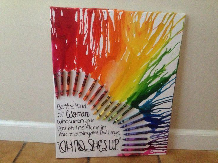 des toiles faites avec des craies de cire.. juste un chassis, une boîte de crayons de cire crayola, un séche-cheveux et un peu d'imagination