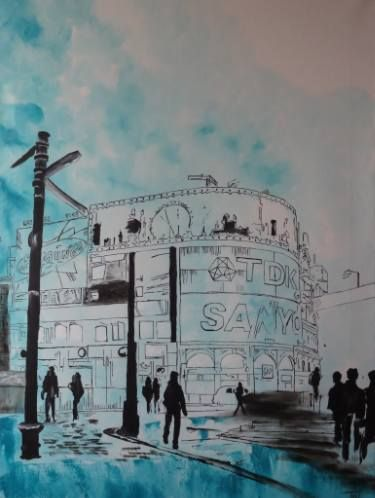 "Saatchi Art Artist Nicole Theresia Spitzwieser; Painting, ""Piccadilly Circus"" #art"
