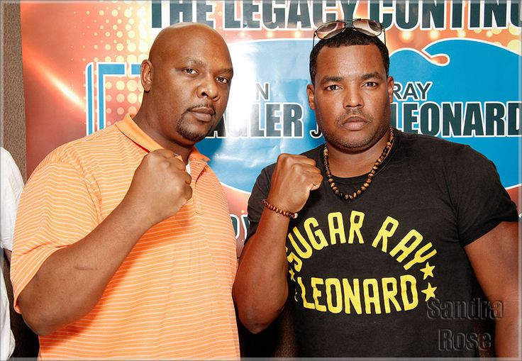 Celebrity seeds Ray Leonard Jr., right, and Marvin Hagler Jr. posed at a press conference to promote their upcoming boxing match at Chima Brazilian Steakhouse in Philadelphia, PA.