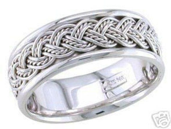 14k White Gold Mens 8mm Link Braided Wedding Band Mens Wedding Bands White Gold Mens Wedding Band Sizes White Gold Jewelry