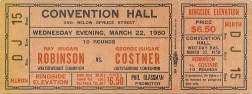 PHILLY BOXING HISTORY - Boxing Tickets - 1950s