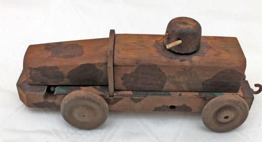 Markenlos Armored Car Car 2 Cannons Wind-up Camo Paint 2. World War Ii War Wooden Toy Original Manufactured Before 1945