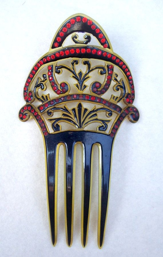 Art Deco hair comb celluloid overlay red by ElrondsEmporium