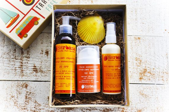 Sunscreen Summer Box, Travel Box, Summertime, Natural Sun Care, Sunscreen Set, Organic Sunscreen, Organic Sun Care, Gift set, Vegan Sunscreen, Natural Sunscreen, Chemical Free Sunscreen, Sunblock Travel Summertime Gift Box! Integrated Vegan Sun Protection for face, body & hair in a beautiful box!  You will receive 3 items in a beautiful vintage travel box (20χ15χ8 cm / 8x6x3 inches):  Face Sunscreen 30SPF or 50SPF http://etsy.me/1VbN8UN  Body Sunscreen 30SPF or 50SPF h...