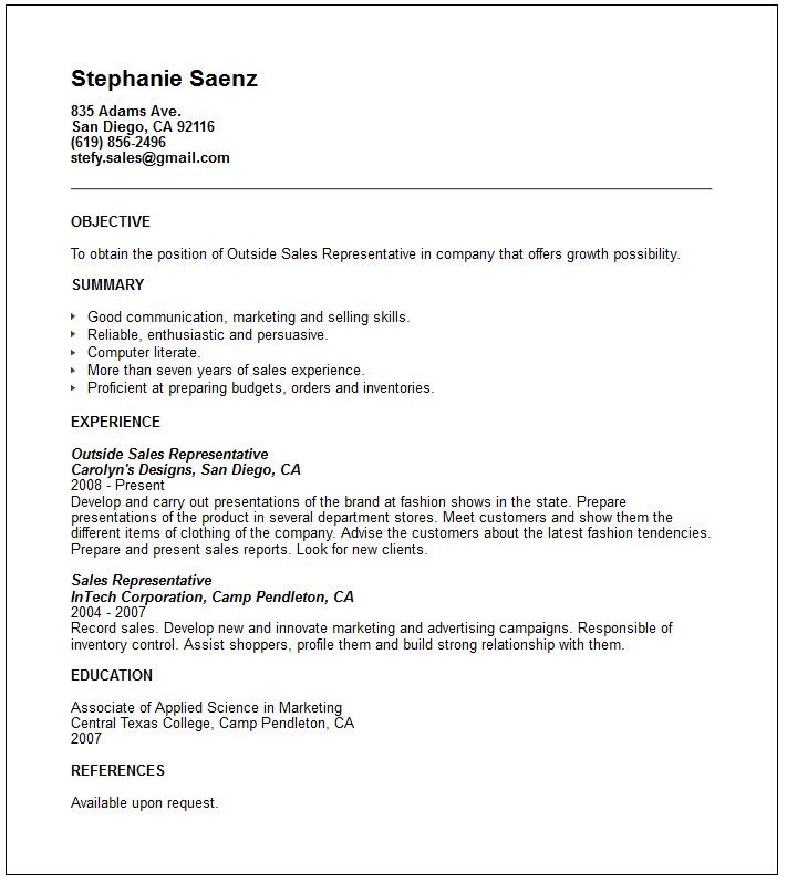 Sales Support Professional Resume - Vision professional