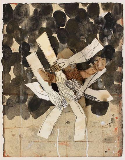 The Present, collage op papier, gouache, aquarel conté, touw, oude lakens, 33x25, 5x8cm, 2016