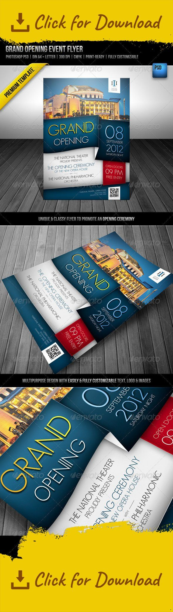 blue, building, celebration, ceremony, classy, code, doors, event, flyer, grand, library, location, multipurpose, national, open, opening, opera, orchestra, party, philharmonic, qr, qr code, red, school, special, theater, theatre, unique, white, yellow  Grand Opening Event Flyer PREMIUM TEMPLATE Content  2 Photoshop PSDs | DIN A4 + Letter format ReadMe File  File Info  Photoshop PSD DIN A4  210 mm x 297 mm 220 mm x 307 mm with bleeds   Letter   8.5 in x 11.0 in 9.0 in x 11.5 in with bleeds…