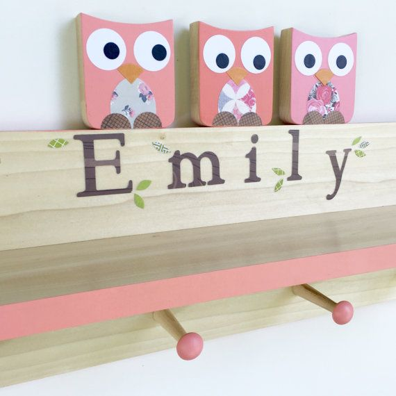 Coral Pink Owl Clothing Rack and Shelf  Wall Coat Rack Wall