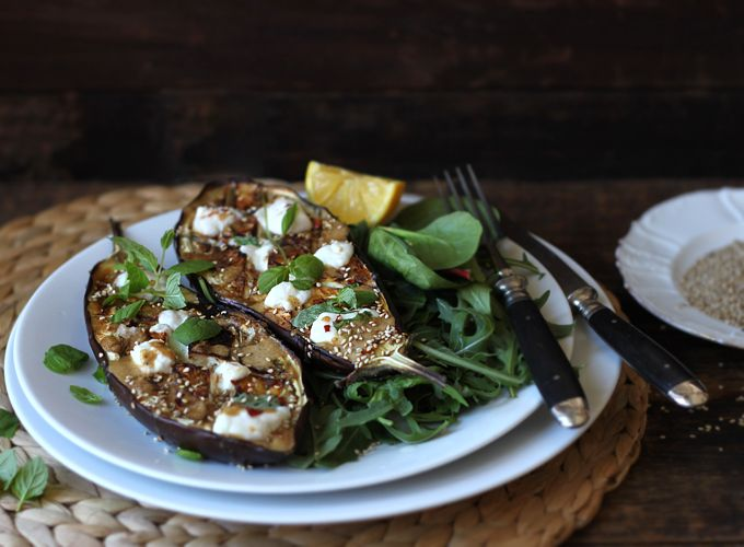 Aubergine N' GreensRoasted Eggplants, My New Roots, Fun Recipe, Green, Eggplant, Spicy Tahini, Baby Eggplants, Goats Cheese, Tahini Sauces