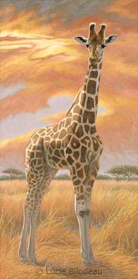"""""""Mother Giraffe"""", oil by artist Lucie Bilodeau."""