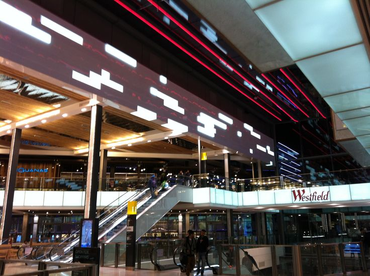Architectural feature lighting for Westfield shopping centre at Stratford City #architecture #lighting #retail