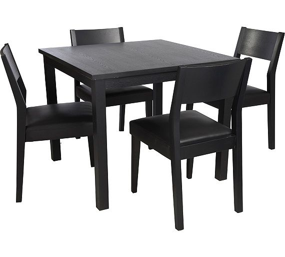 dining room sets co uk. buy hygena square solid wood dining table and 4 chairs - black at argos.co room sets co uk