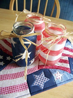 4th of July party Mason Jars Decorations. Inexpensive and perfect with wine country decor!