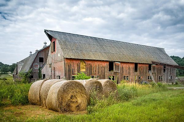 Hay Bales And Old Barns Photograph by Gary Heller - Hay Bales And Old Barns Fine Art Prints and Posters for Sale