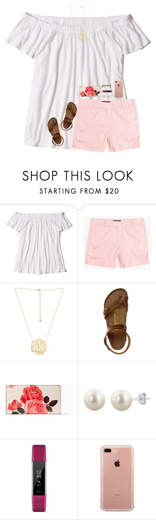 """""""picked a hoco dress!"""" by harknessl ❤ liked on Polyvore featuring Hollister Co., J.Crew, Birkenstock, Kate Spade, Fitbit, Belkin and preppybylauren"""