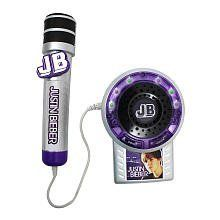 """Justin Bieber Voice Effects Microphone with Amplifier by Justin Bieber. $62.21. The Justin Bieber Voice Effects Microphone lets you sing like a superstar with music, lights and cool digital voice effects. Press to play clips and sing along to three of Justin's hit songs """"Baby"""", """"One Time"""" and """"Somebody to Love"""" - and hear your voice amplified with the song. Lights flash to the beat of the music as you sing. Plus, you can connect your MP3 player and sing along to any of your digi..."""