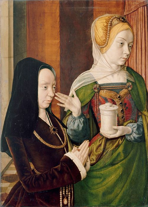 Jean Hey, known as the Master of Moulins (active Lyon and Moulins, c. 1480-c. 1505). Madeleine of Burgundy Presented by Saint Mary Magdalene, c.1490
