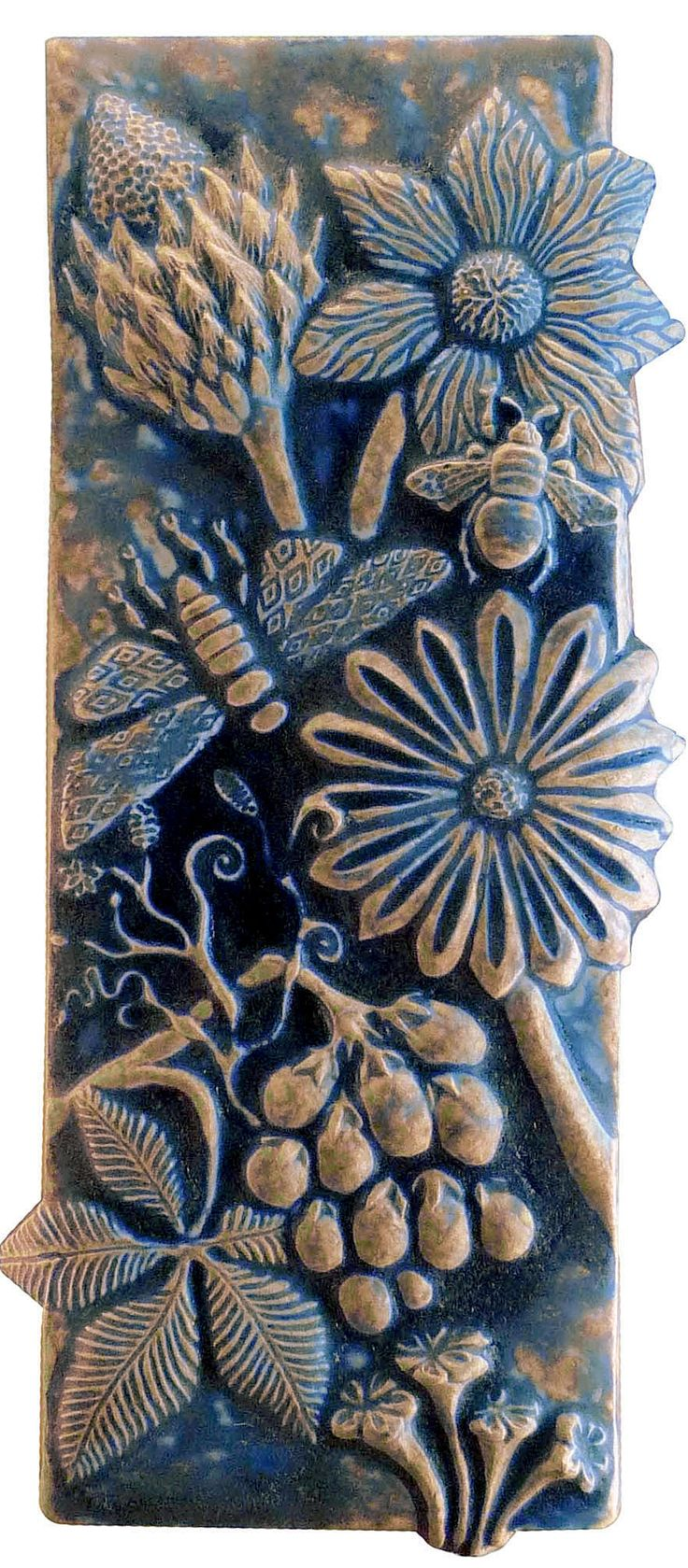90 best decorative wall panels and plaques botanical and bugs ceramic tile in night sky by beth sherman ceramic wall art amipublicfo Gallery